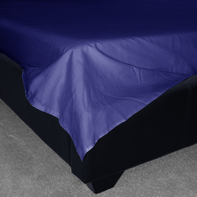 Navy Percale Plain Flat Sheet (180 Thread Count)