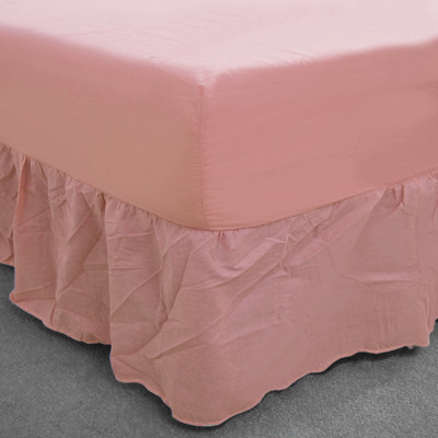 Pink Polycotton Fitted Valance (150 Thread Count)