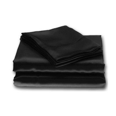 Black Plain Satin Fitted Sheets