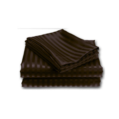 Chocolate Satin Stripe Fitted Sheet