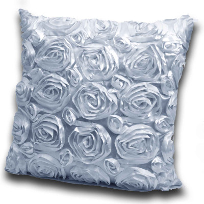 3D Rose Polyester Made Silver Cushion Cover