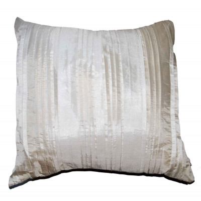 Pleated Faux Silk Cream Cushion Cover
