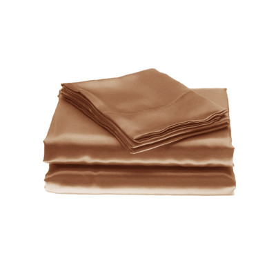 Latte Plain Satin Fitted Sheets
