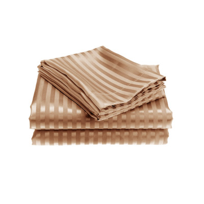Latte Satin Stripe Fitted Sheet