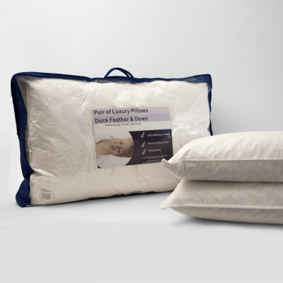 Duck Feather Down Pair of Superking Pillows