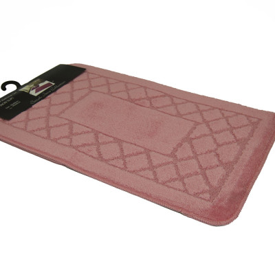 Pink 2Pc Plain Bath Mat Set