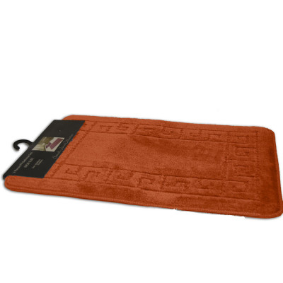 Sarah Orange 2Pc Plain Bath Mat Set
