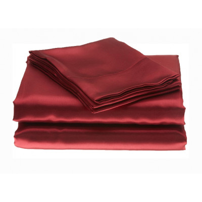 Plain Satin Burgundy Polyester Fitted Sheets