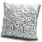 3D Rose Polyester Made White Cushion Cover