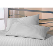 White Satin Stripe Fitted Sheet