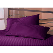 Black Currant Satin Stripe Fitted Sheet