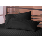 Satin Stripe Black Polyester Pillow Case