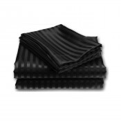Black Satin Stripe Fitted Sheet