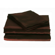 Plain Satin Chocolate Polyester Fitted Sheets