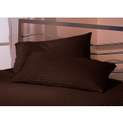 Satin Stripe Chocolate Polyester Pillow Case