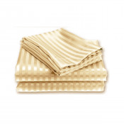 Cream Satin Stripe Fitted Sheet