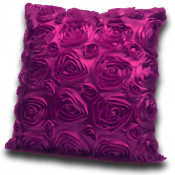 3D Rose Polyester Made Purple Cushion Cover