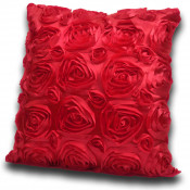 3D Rose Polyester Made Red Cushion Cover