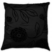 Charlotte Faux Silk Black Cushion Cover