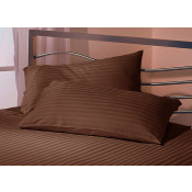 Satin Stripe Latte Polyester Pillow Case