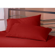 Satin Stripe Burgundy Polyester Pillow Case