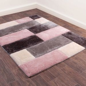 3D Carved Geometric Blocks Rugs in Blush Pink