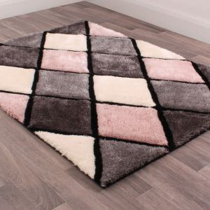 3D Carved Geometric Diamond Rugs in Blush Pink