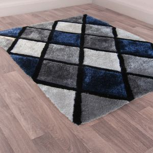 3D Carved Geometric Diamond Rugs in Navy Blue