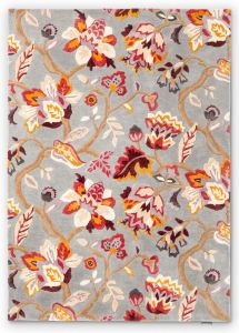 Amanpuri Leaf Wool Rugs By Sanderson in Grey Plum