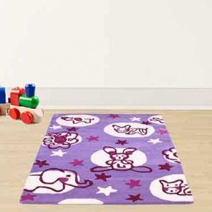 Kids Animals Wool Rugs in Purple