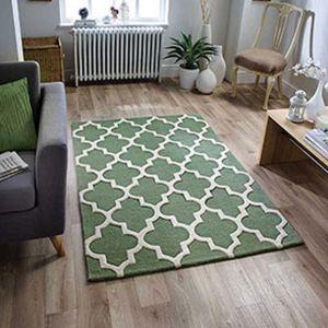 Arabesque Modern Wool Rugs in Sage Green