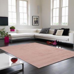 Aran Plain Wool Rugs in Rose Pink