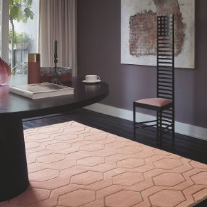 Arris Geometric Wool Rugs 37302 in Pink and Gold by Wedgwood