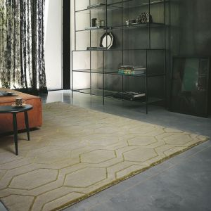 Arris Geometric Wool Rugs 37304 in Grey and Gold by Wedgwood