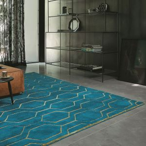 Arris Geometric Wool Rugs 37307 in Teal and Gold by Wedgwood