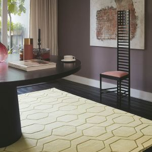 Arris Geometric Wool Rugs 37309 in Cream and Gold by Wedgwood