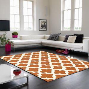 Artisan 03 Arabesque Wool Rugs in Terracotta Orange