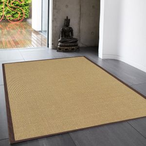 Sisal Rugs in Linen with Chocolate Brown Border