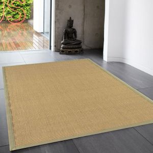 Sisal Rugs in Linen with Sage Green Border