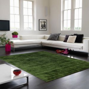 Blade Plain Rugs in Green - Silky Viscose Pile