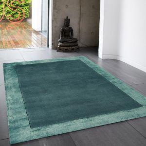 Ascot Plain Modern Bordered Wool Rugs in Aqua Blue