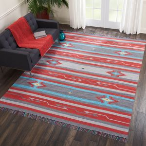 Baja Rugs BAJ01 in Grey and Red by Nourison