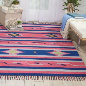 Baja Rugs BAJ01 in Pink and Blue by Nourison