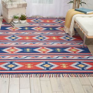 Baja Rugs BAJ03 in Blue and Red by Nourison