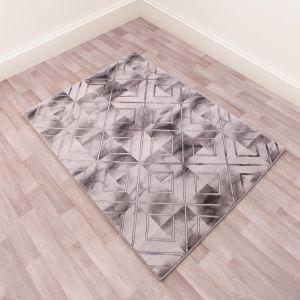 Bianco 0196SA Marble Geometric Rug in Cream Grey