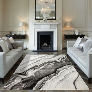 Blaze BLZ01 Abstract Marble Rugs in Silver Grey