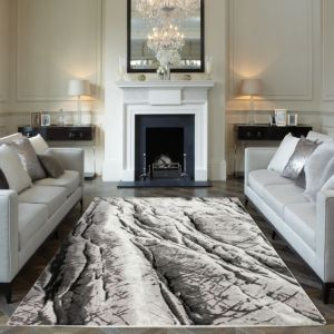 Blaze BLZ05 Abstract Marble Rugs in Silver Grey