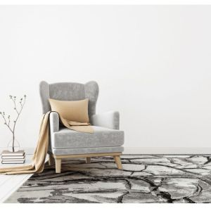 Blaze BLZ07 Abstract Marble Rugs in Silver Grey