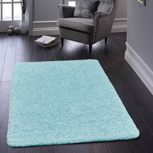 Buddy Washable Plain Rugs in Baby Blue