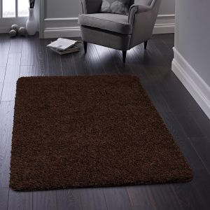 Buddy Washable Plain Rugs in Chocolate Brown